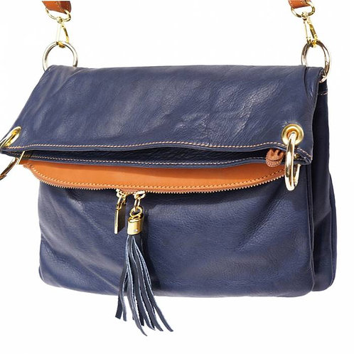 Monica leather shoulder bag blue
