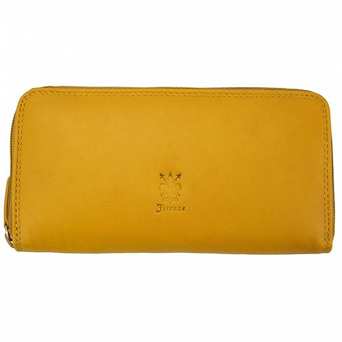 Zippy Wallet in soft cow leather yellow