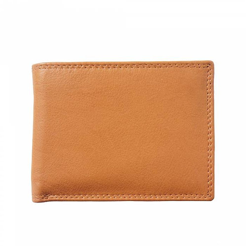 Man wallet in calf-skin soft leather Tan