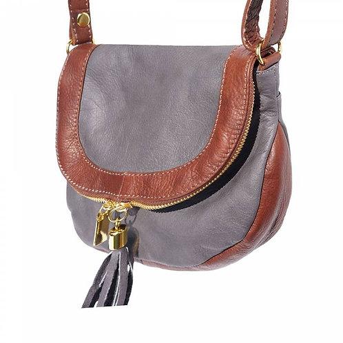Tarsilla leather shoulder bag grey brown