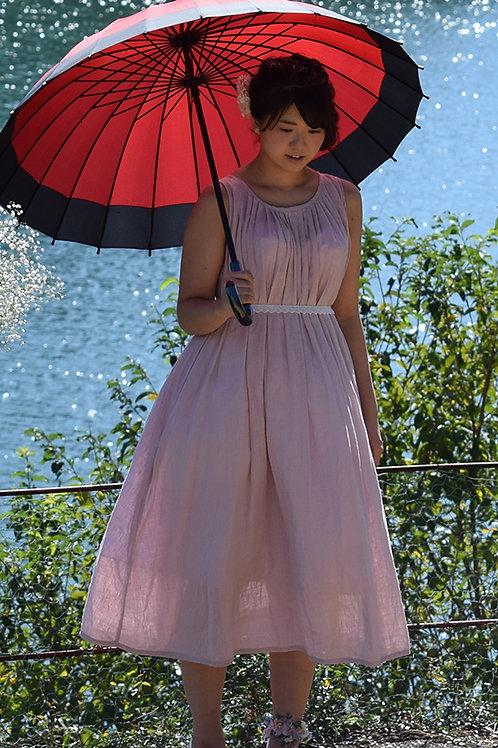ナチュラルウェディング ピンクミディ丈ドレス