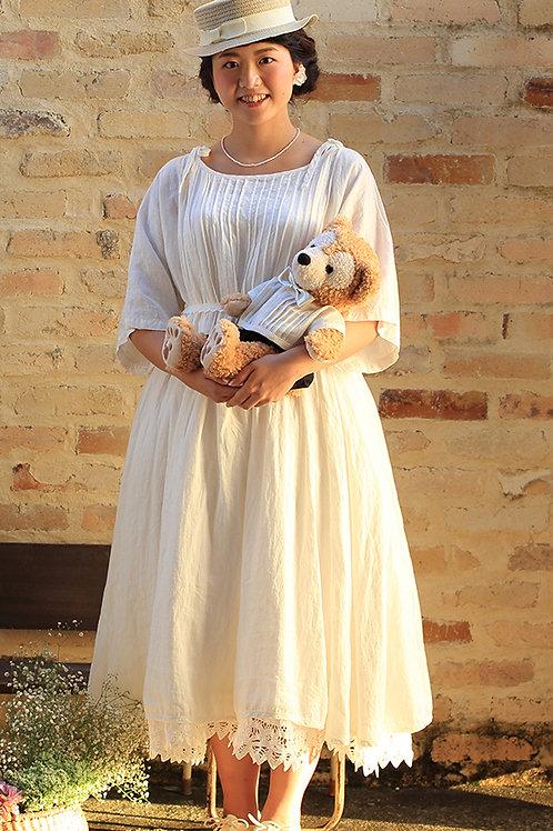 ホワイトリネン ピンタックドレス インナードレス付き
