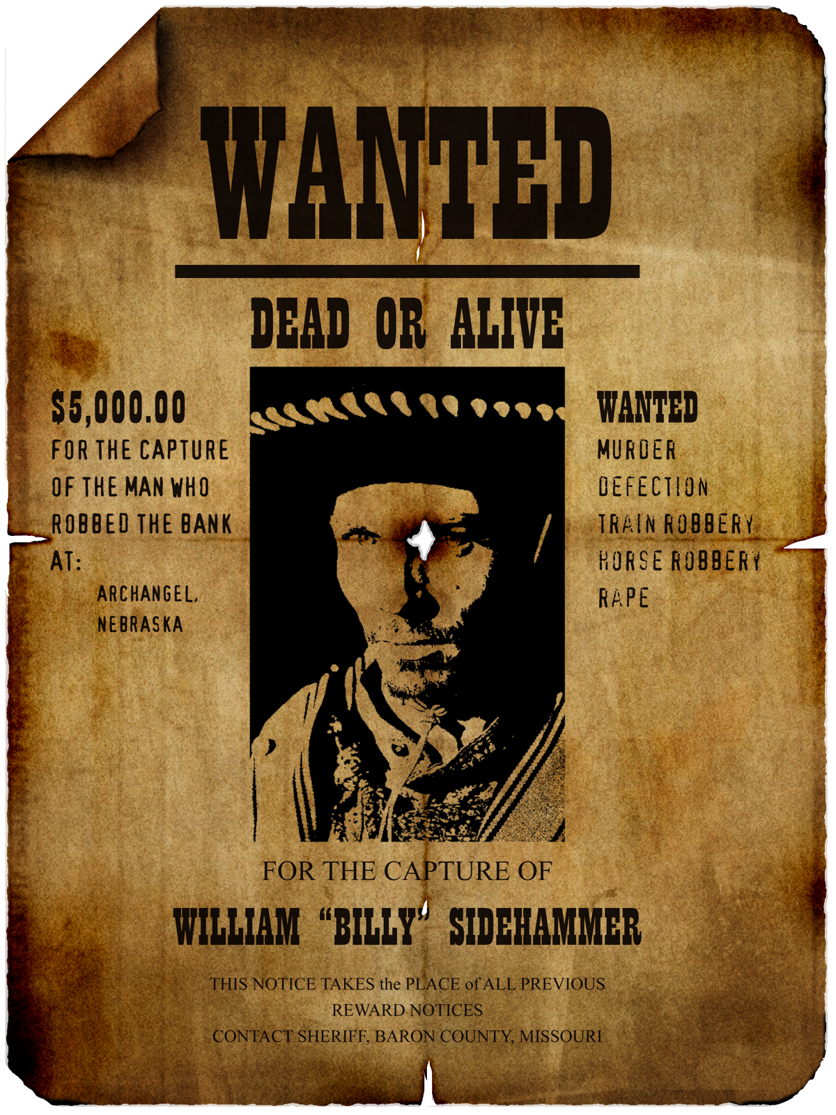 Billy Sidehammer Wanted Poster