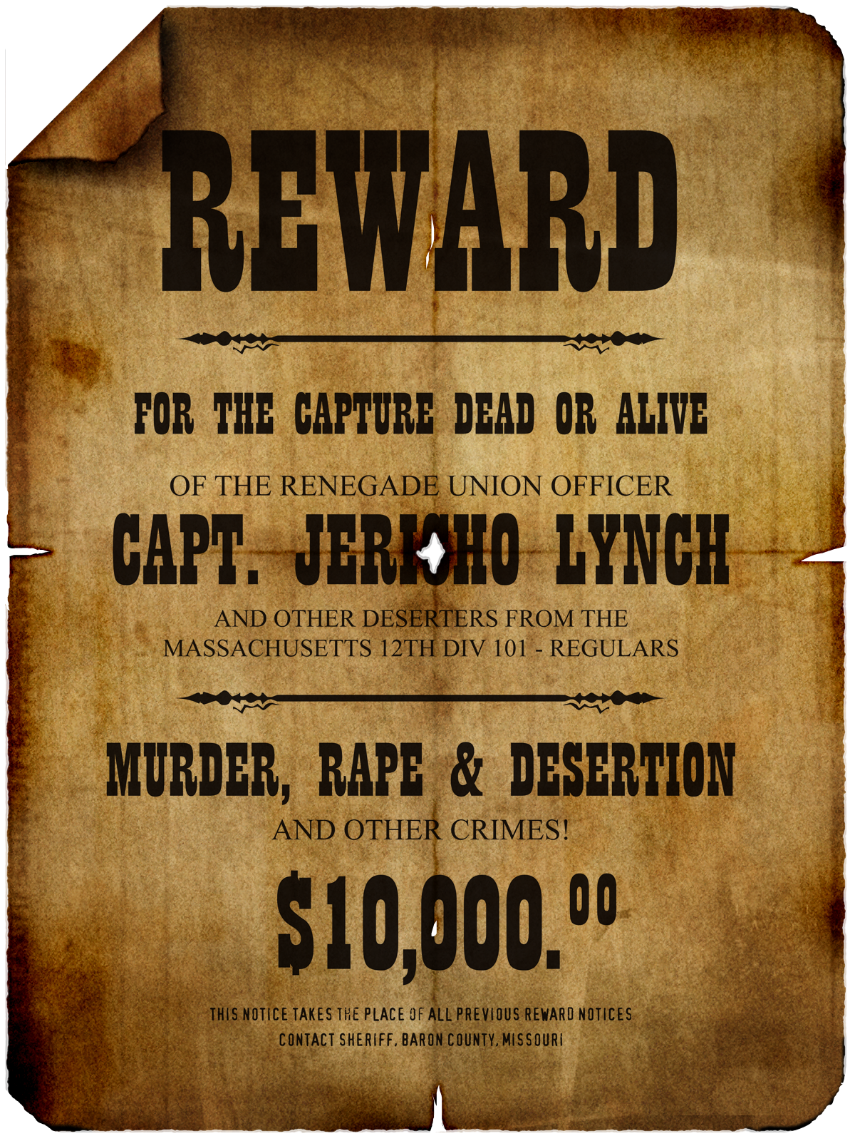 Jericho Lynch Wanted Poster