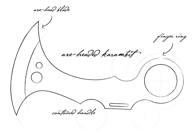 Baloroy's Sketch - Royosian Axe-Headed Karambit