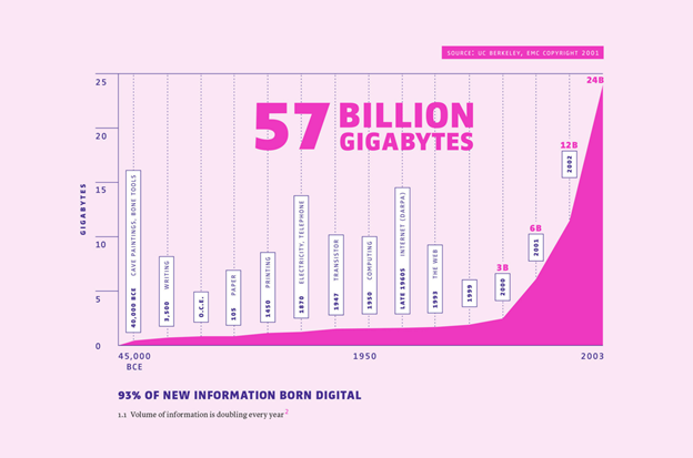 Growth of Gigabytes in Existence