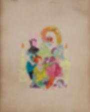 La sainte famille, 2018_Pastel et encre_