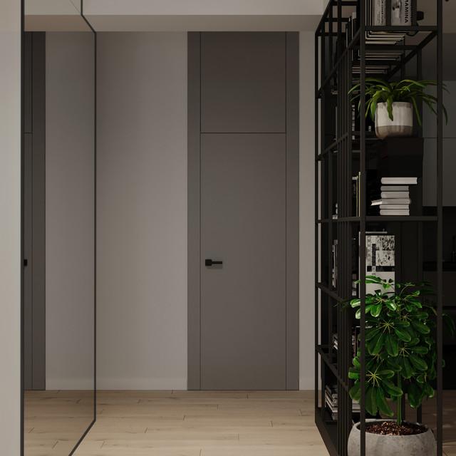 Stylish shelving in the hallway