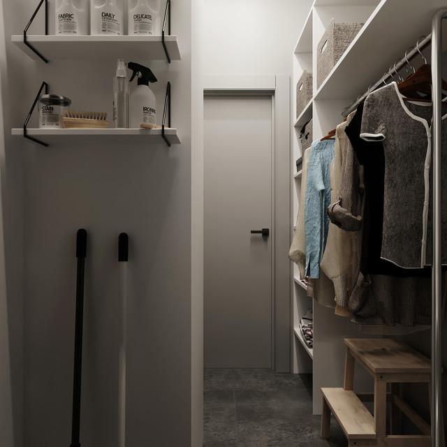 Shelves in the wardrobe