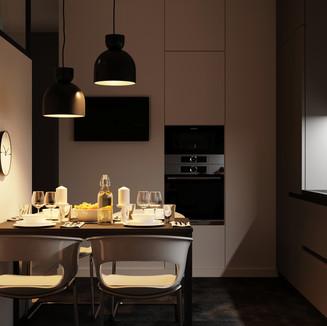 Вечірній вид на кухню