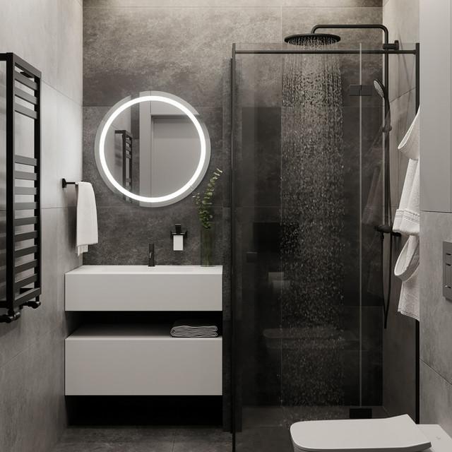 Stylish and contrasting bathroom