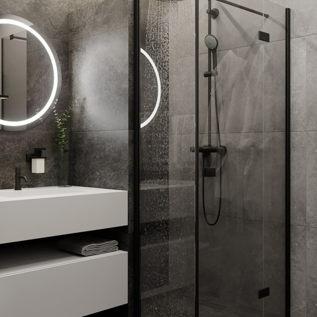 Modern shower cabin in the bathroom