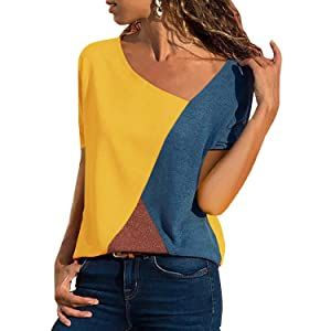 Yidarton Women's Summer Tops Casual Color Block V-Neck Short Sleeve/long Sleeves Basis Tee Blouse T Shirt