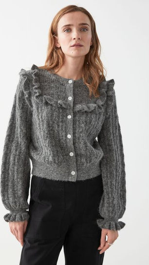 Ruffled Cable Knit Cardigan