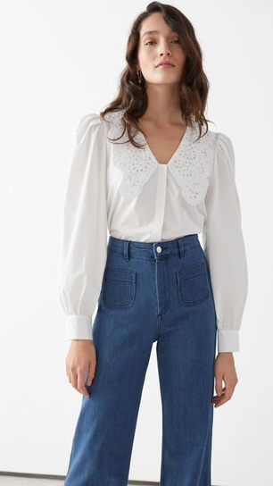 Embroidered Collar Puff Sleeve Cotton Blouse