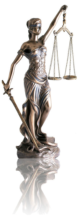 Lady justice or Themis with reflection