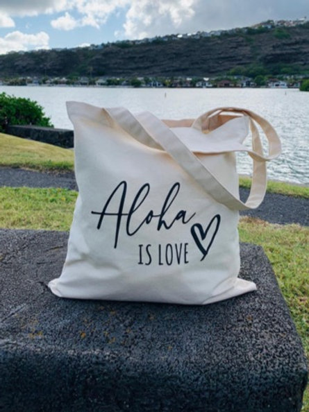 Aloha is Love Cotton Tote Bag