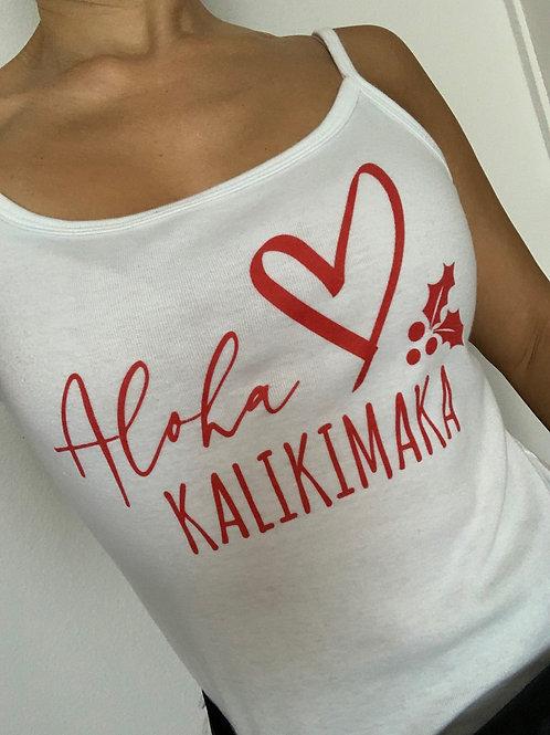 Christmas Aloha Kalikimaka White Cami