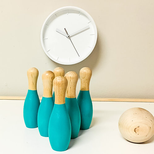 Turquoise Wooden Bowling Set