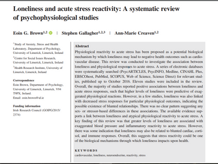 LONELINESS AND ACUTE STRESS REACTIVITY