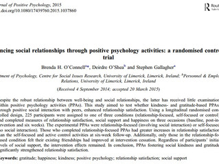 Brenda O'Connell published in Journal of Positive Psychology
