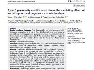 Type D Personality, Social Relationships and Stress