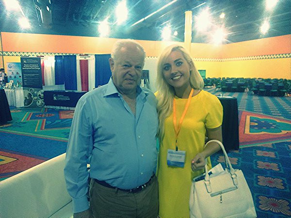 PhD Candidate Brenda O'Connell with her hero Dr Martin Seligman at the World Congress of Positive Psychology 2015