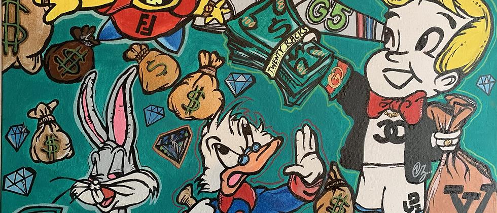 Money Talks (Original Canvas) size 22x28