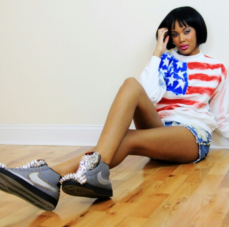 RaeLia Lewis wearing DYI Sneakers and Fashion