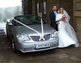 Modern convertible wedding car