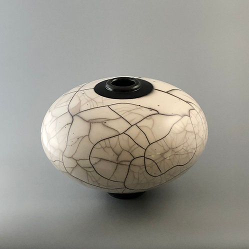 "Naked Raku Vase, Burnished Surface; 7.5"" h x 10.5"" w, 2.7#"