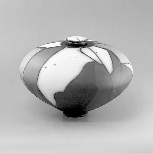 "Naked Raku Lidded Jar, Orca Surface; 8"" h x 11"" w, 2.8#"
