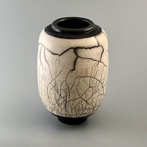 """Naked Raku Vase, Burnished Surface; 8.5"""" h x 6"""" w, 2#"""