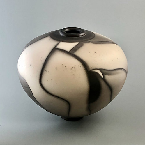 "Naked Raku Vase, Orca Surface; 9.25"" h x 11"" w, 2.9#"
