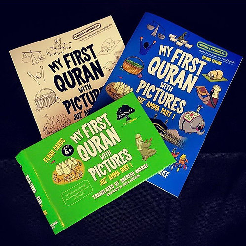 My First Quran With Pictures + Coloring Book + Flashcard Set