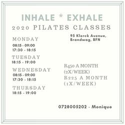 2020 Pilates classes