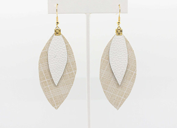 Beige and White Leather Earrings