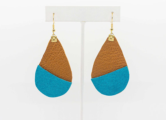 Cinnamon Brown and Turquoise Leather Earrings