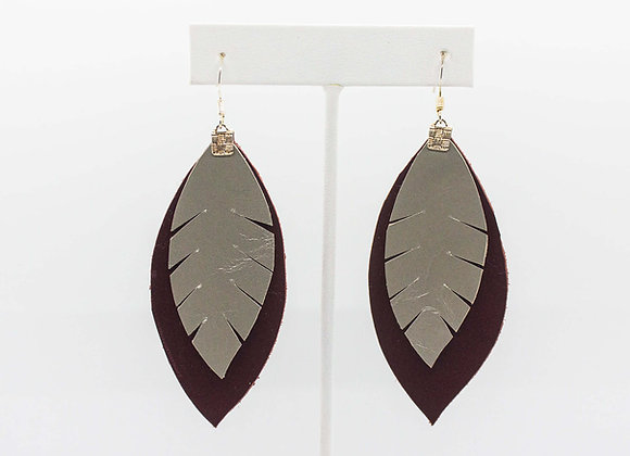 Silver and Red Leather Earrings