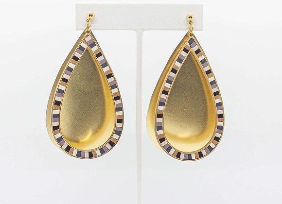 Gold Teardrop Leather Earrings