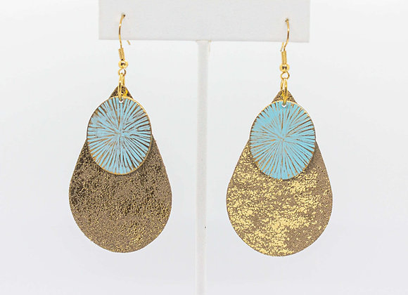 Gold Leather and Turquoise Earrings