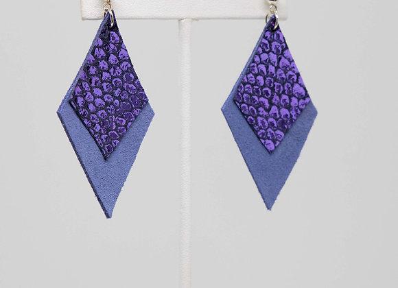 Purple and Periwinkle Dangle Earrings