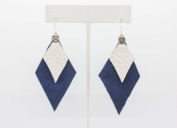 Navy Suede and White Leather Earrings