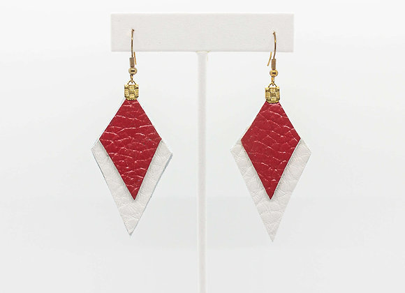 Red and White Leather Earrings