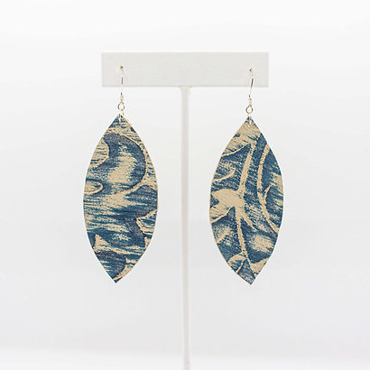 Blue Floral Leather Earrings