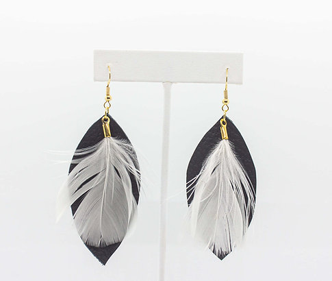 Black Leather, White Feather Earrings