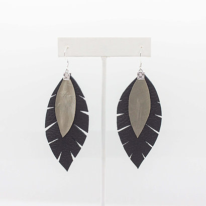 Silver and Black Leather Earrings