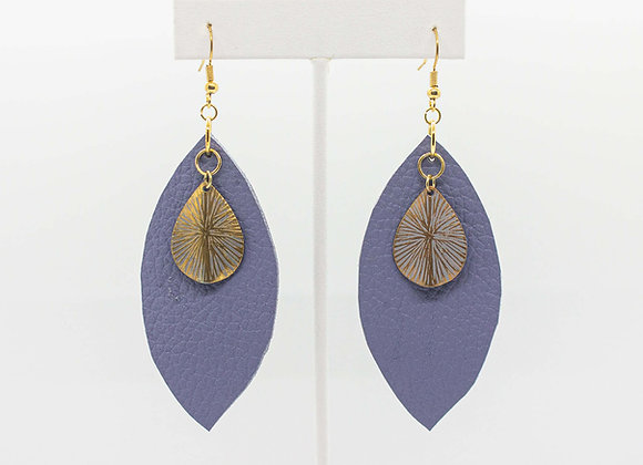 Gold and Periwinkle Leather Earrings