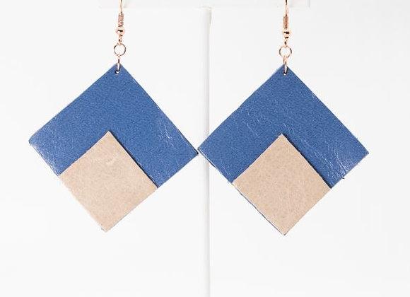 Powder Blue Leather Diamond-Shaped Earrings