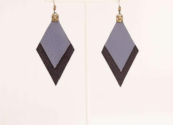 Purple Leather Earrings